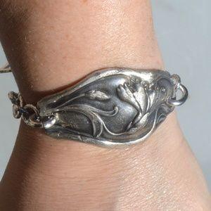 Floral Silver Plated Antique Spoon Bracelet OOAK